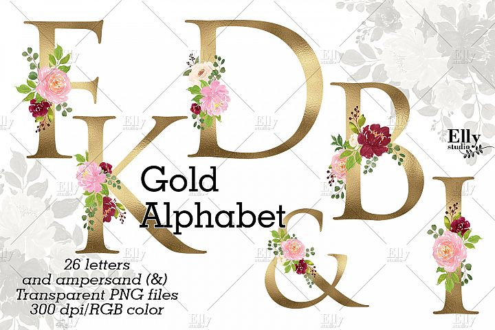 Gold Floral Alphabet Clip Art