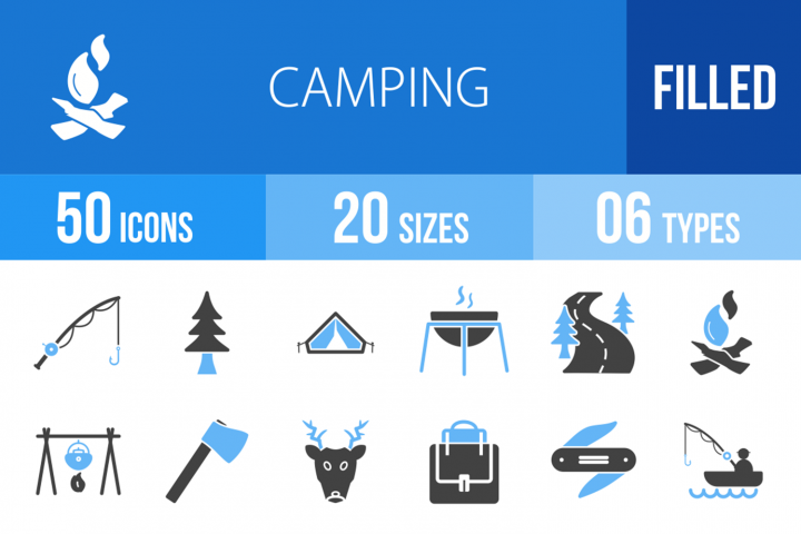 50 Camping Filled Blue & Black Icons