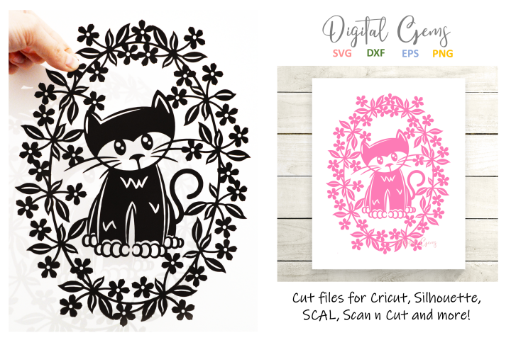 Cat paper cut design SVG / DXF / EPS / PNG files