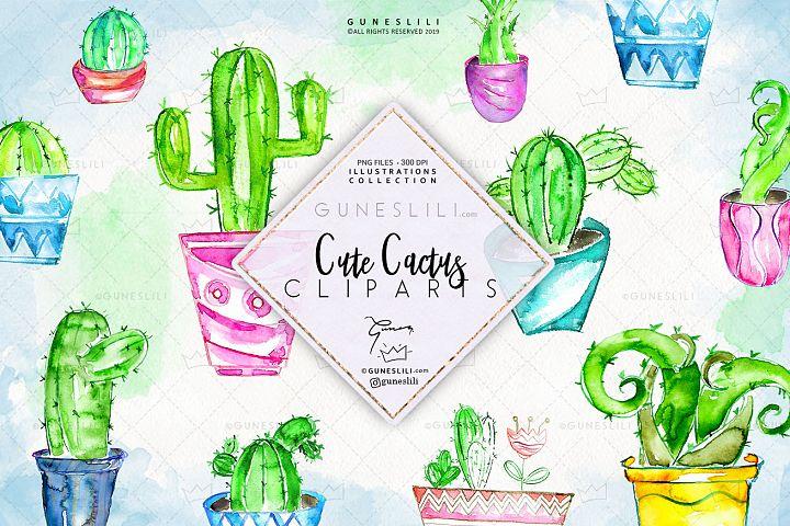 Watercolor Cactus Clipart in pots