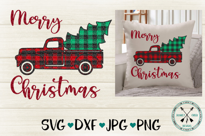 Plaid Christmas Truck SVG