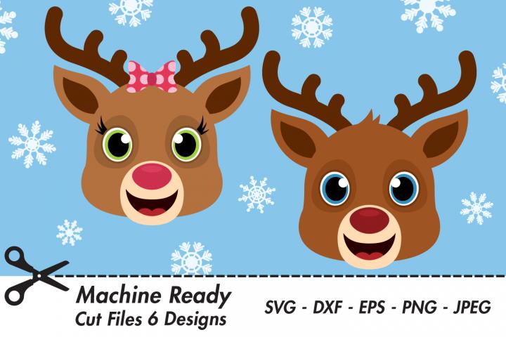Cute Reindeer Bundle SVG Cut Files, Christmas Woodland