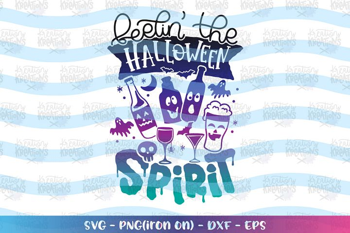 Halloween svg Feelin the Halloween Spirit svg Alcohol Wine