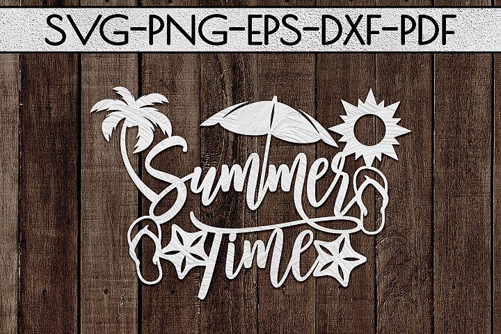 Summer Time Paper Cut Template, Summer Beach Decor SVG, PDF