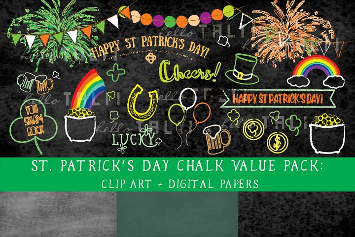 SALE! St Patricks Day Clip Art and Digital Paper