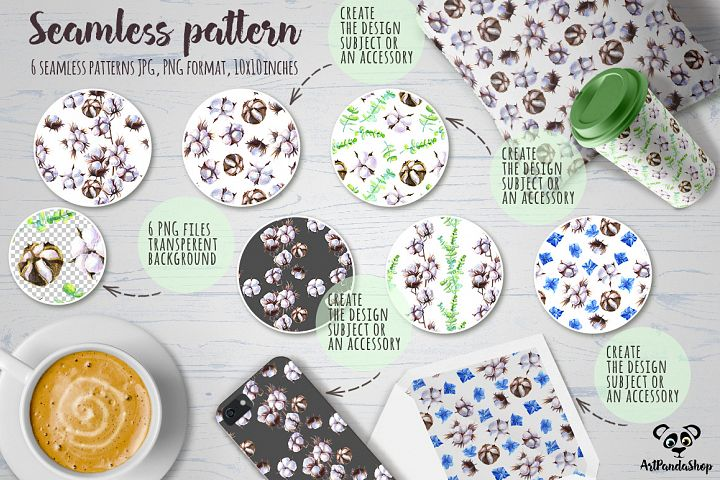 Cottons Watercolor Seamless patterns