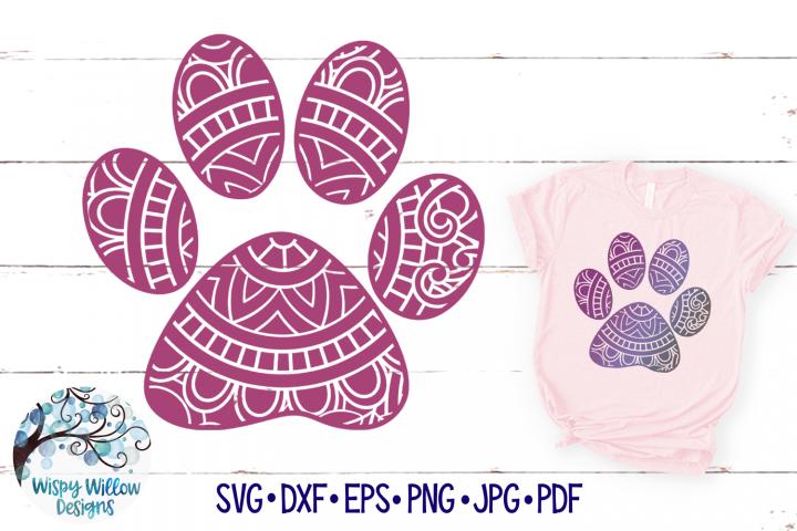 Paw Print Mandala SVG |Paw Print Zentangle SVG