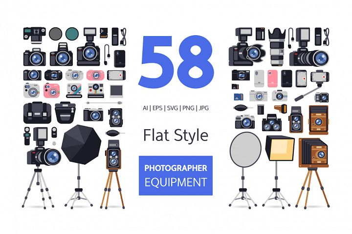 Photographer Equipment in Flat Style