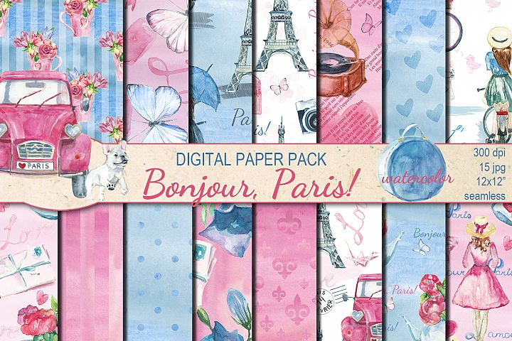 Watercolor Bonjour Paris seamless digital paper pack