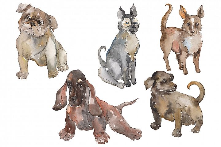 Farm animals dogs Watercolor png