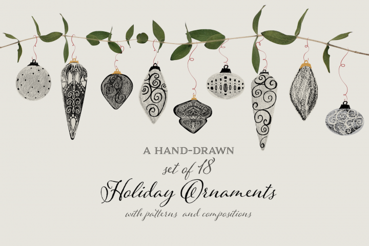 Hand-Drawn Holiday Ornaments with Patterns & Compositions