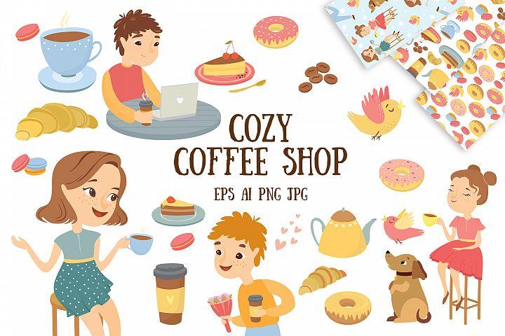 Vector cozy coffee shop