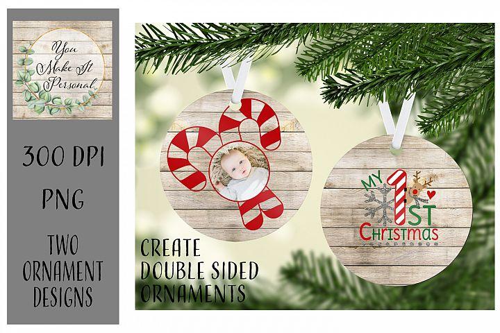 Sublimation Ornament Template - 1st Christmas - Add photos