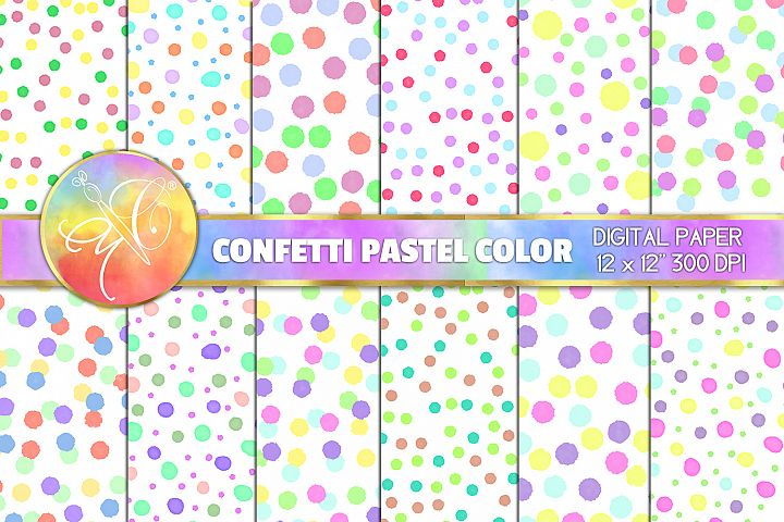 Confetti Digital Paper, Pastel Color, Digital Background