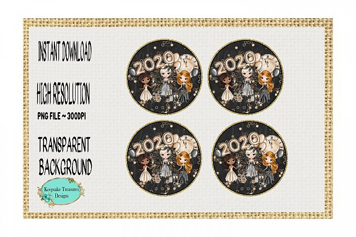 New Year 2020, Sublimation Coaster Template