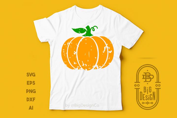 Distressed Pumpkin SVG - Halloween Svg , Cute Pumpkin TShirt