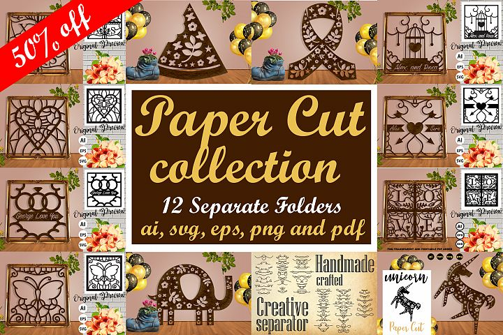 Paper Cut Pack Collection Vol. 1 - SVG, AI, EPS, PNG, PDF