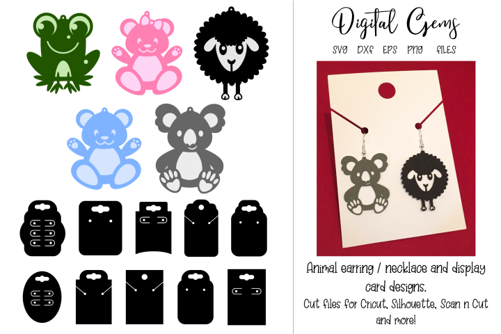 Earring / necklace charms and display cards, animal designs