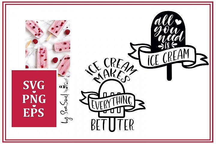 Ice Cream SVG files. Ice Cream Design. EPS, PNG, JPEG