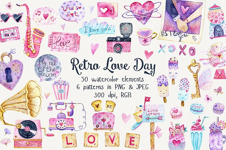 Retro Love Day Set. Valentines Day clipart with patterns
