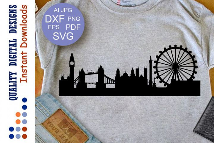London Skyline Svg Cityscape Svg Bridge Big Ben cutting file