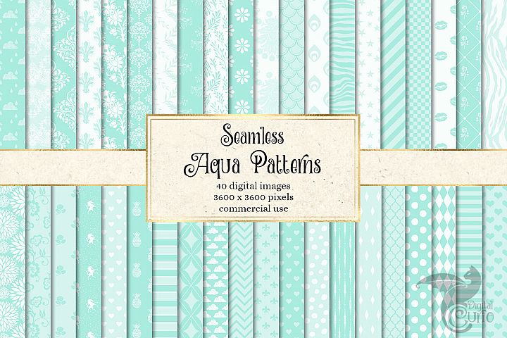 Seamless Aqua Patterns Digital Paper