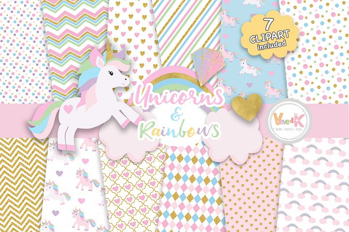 Unicorns Clipart, Rainbow Clipart, Unicorn Digital Papers, Rainbow Clipart, Rainbow Papers, Unicorn Baby Shower, Gold Glitter Unicorn
