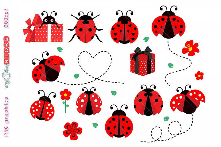 Collection ladybugs clipart set with gift boxes, png graphic
