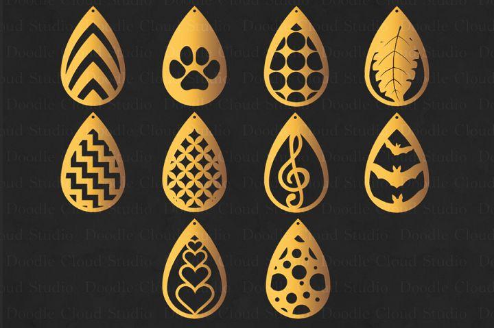 Teardrop Earrings SVG, Pendant svg, Earring template cut files