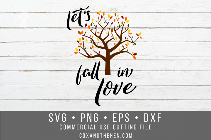 Lets Fall in Love Sign Stencil SVG