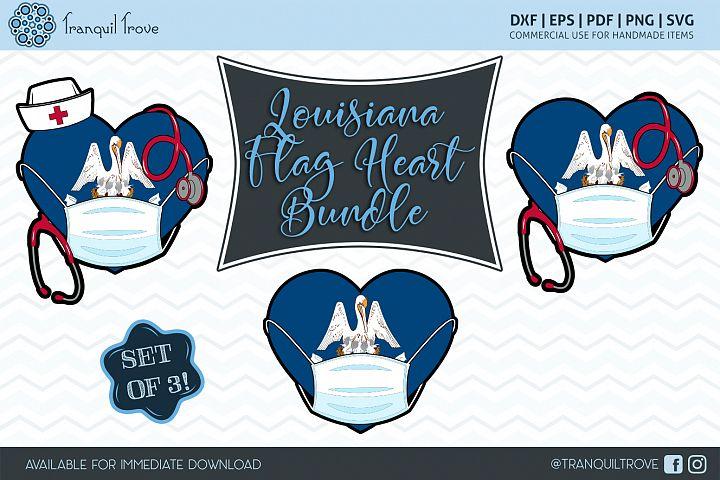 Louisiana Flag Heart Bundle
