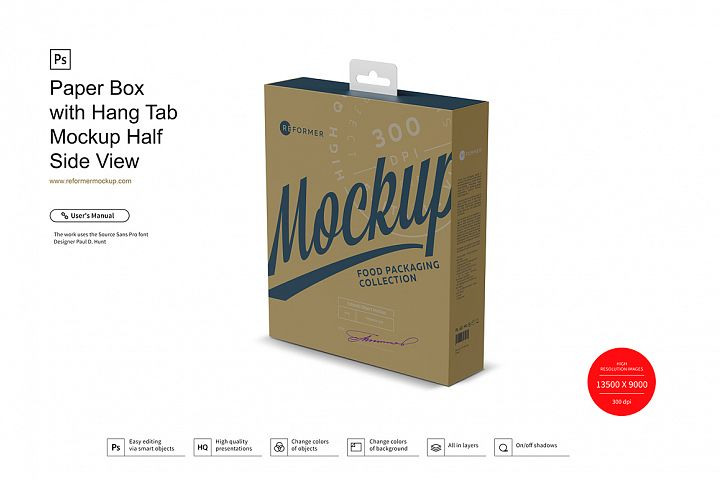 Paper Box with Hang Tab Mockup Half Side View