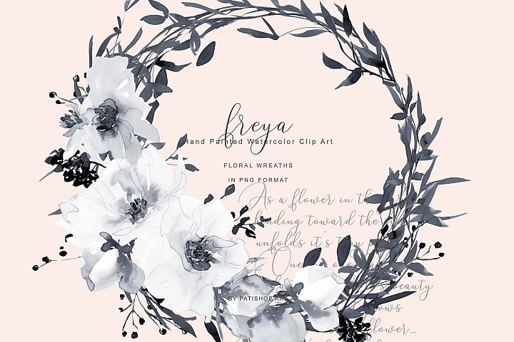 Watercolor Gray and White Rose Wreath Clipart