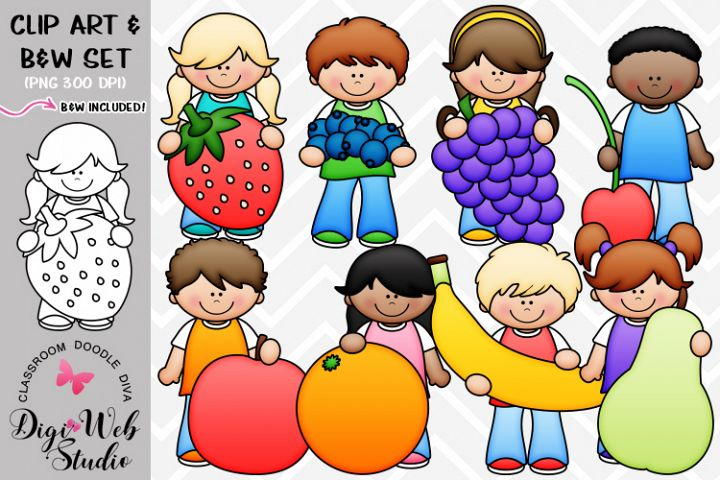Clip Art / Illustrations - Kids With Fruit