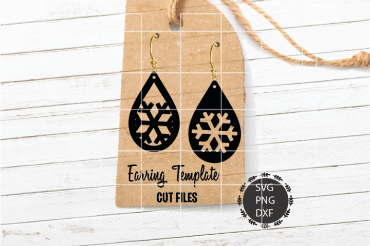 Snowflake Earrings Svg, Earrings Svg, Teardrop Svg, Png, Dxf