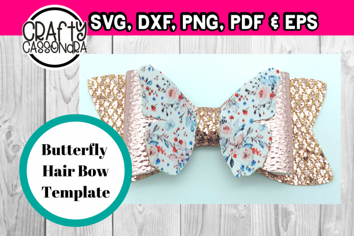 Hair bow svg template file . Butterfly hair bow 2 . DIY svg - Free Design of The Week
