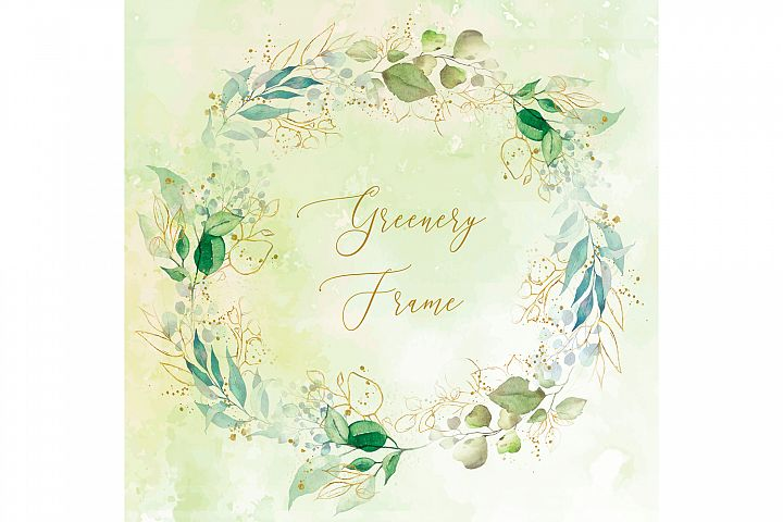 Watercolor Greenery Floral Gold Frame Clipart Minimalist PNG