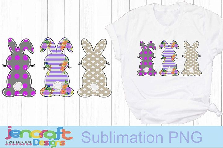 Easter Sublimation bunny rabbit, bunnies Trio doodle png