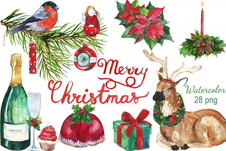 Watercolor Christmas digital clip art