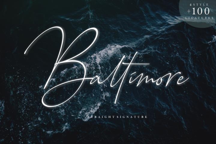 Baltimore // Straight Signature Font