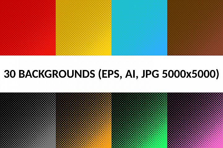 30 Halftone Dot Backgrounds (AI, EPS, JPG 5000x5000)