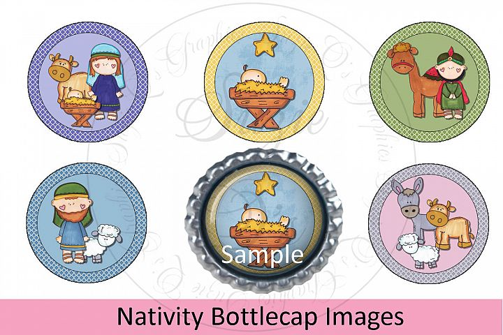 Nativity Bottlecap Images, Labels