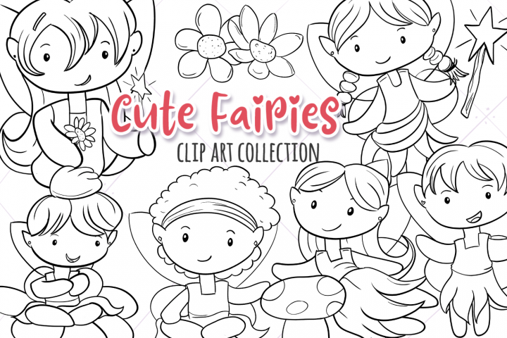 Cute Fairies Digital Stamps