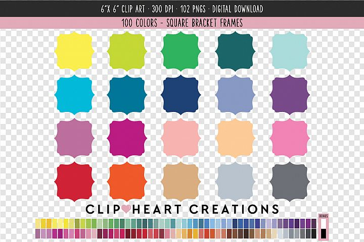 Bracket Frames Clip Art - 100 Clip Art Graphics
