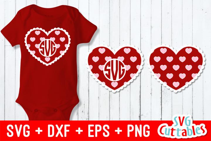 Heart Monogram Frame   Valentines Day Cut File