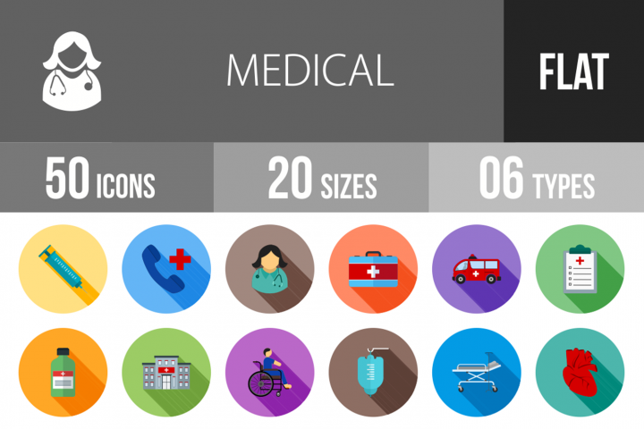 50 Medical Flat Long Shadow Icons