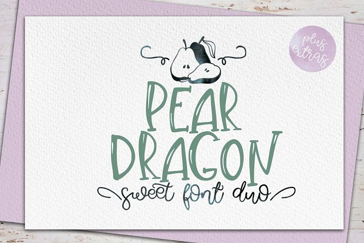 Pear Dragon.Sweet font duo&extras
