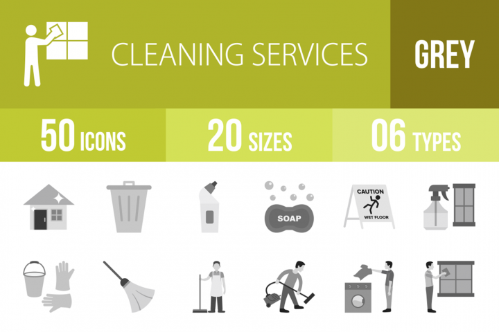 50 Cleaning Services Greyscale Icons