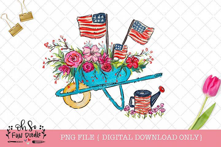 Patriotic American flag wagon, whimsical Sublimation design
