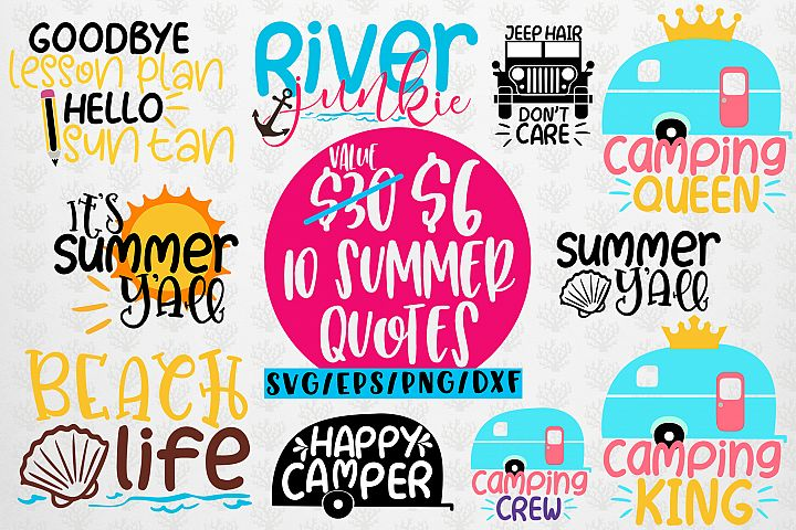 Summer & Camping Svg Bundles - 10 Svg EPS DXF PNG Cut File